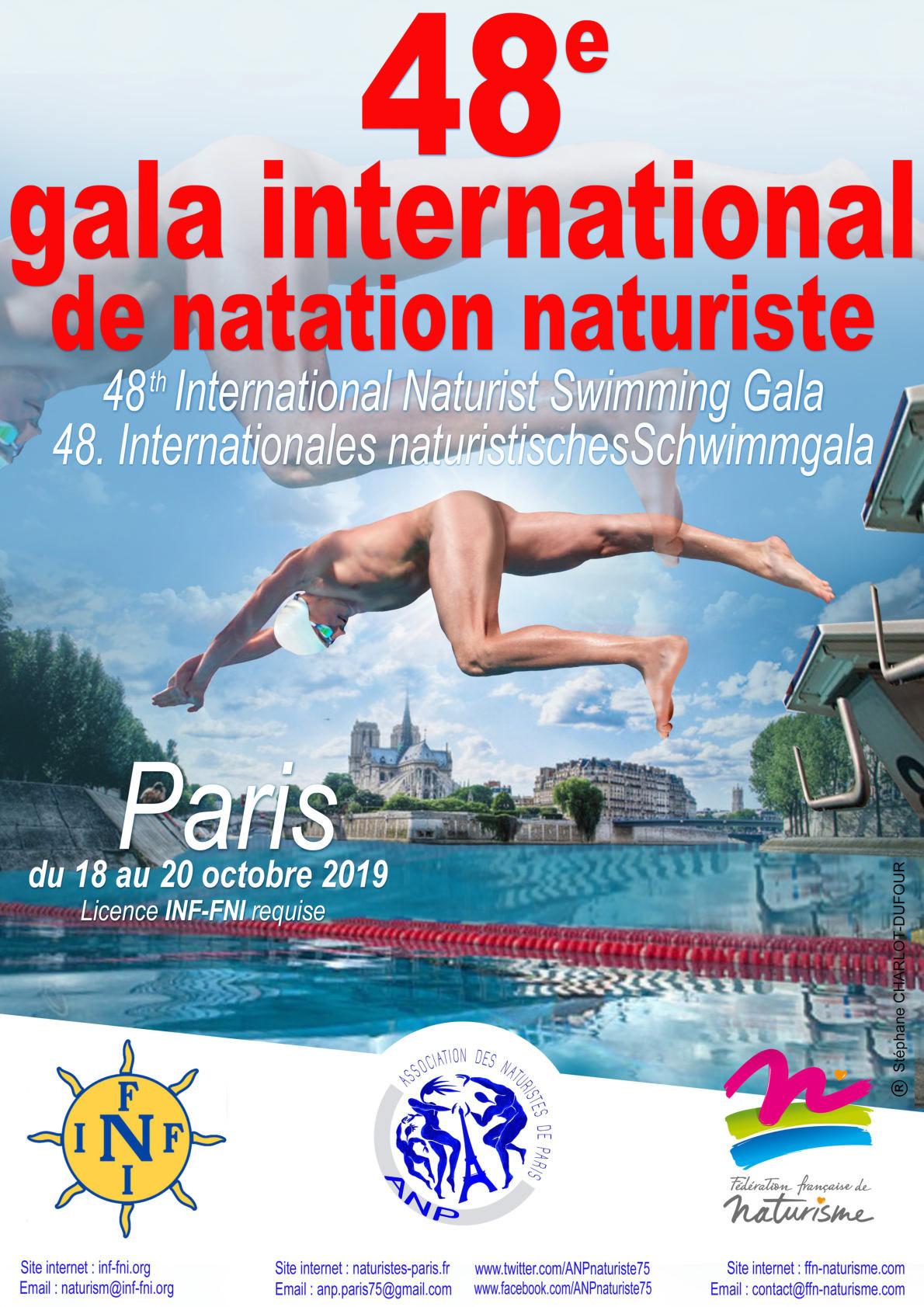 Gala Mundial de Natación nudista 2019 en París. FNI-FFN-ANP