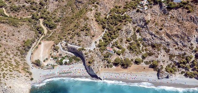 Vista aérea de la Playa Naturista de Cantarriján