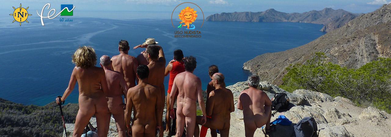 Excursión nudista alrededores de El Portus durante el encuentro anual FNI/FEN del Sur de Europa
